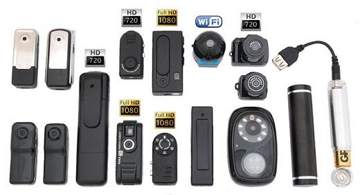 На снимке представлены различные виды скрытых и мини видеокамер