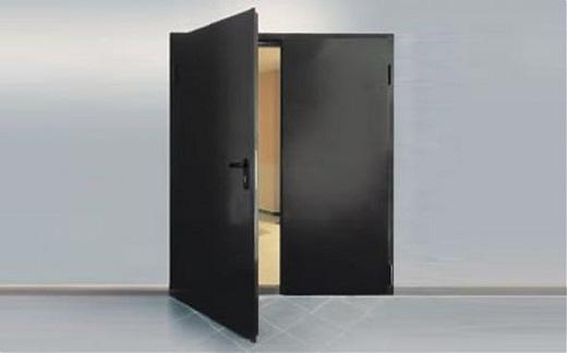 На фото дверь противопожарная двупольная металлическая EI
