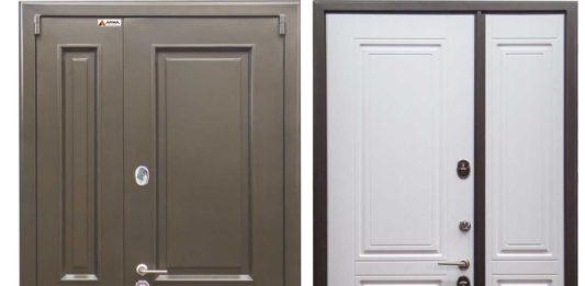 металлические двухстворчатые входные двери